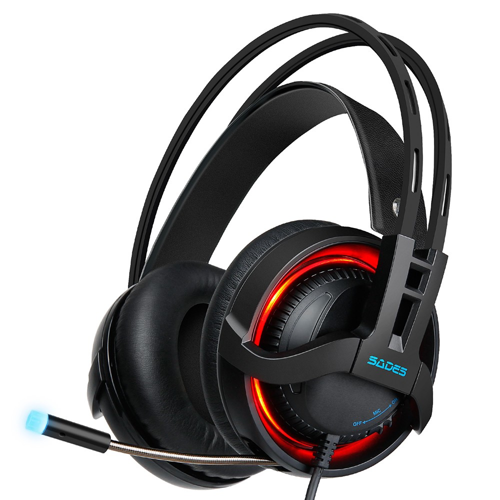 Papaco Usb Sound 71 Channel Sades R2 Gaming Headset Over Ear Headphone Surround Bass Treble Led Light With Mic For Pc Computer